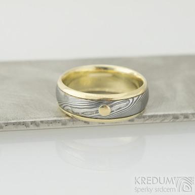 Kasiopea yellow a zlatý suk - dřevo - Zlaté snubní prsteny a damasteel