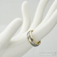 Kasiopea yellow a zlatý suk - 56, šířka 6,5 mm, tloušťka 1,7 mm, okraje 2x1 mm, D, dřevo 75% TM - Snubní prsten, k 2077 (3)