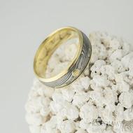 Kasiopea yellow a zlatý suk - 56, šířka 6,5 mm, tloušťka 1,7 mm, okraje 2x1 mm, D, dřevo 75% TM - Snubní prsten, k 2077 (2)