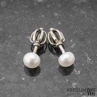 Kiki Golden white 4,7 mm - Perlové náušničky se zlatým zapínáním, SK1250