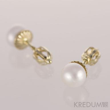 Kiki Gold 6,5 mm - Perlové náušničky se zlatým zapínáním, SK1210