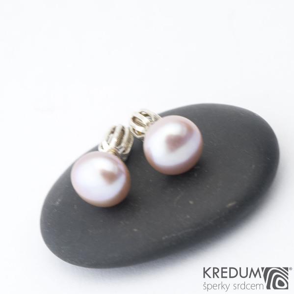 Perlové náušničky - Kiki lila 8 mm