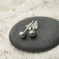 Kiki black steel 5 mm - Perlové náušničky