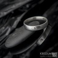 Klasik a broušený moissanite 1,5 mm do Au - Kovaný nerezový prsten - 53 , šířka 4 mm, tloušťka 1,8, matný - et 1640 (2)