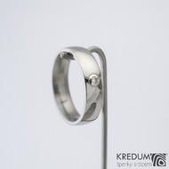 Klasik a moissanit 2,3 mm do Ag - vel 54 CF, šířka 5,1, tloušťka 1,7 mm, profil E, lesklý - Nerezové snubní prsteny - sk1361 (2)