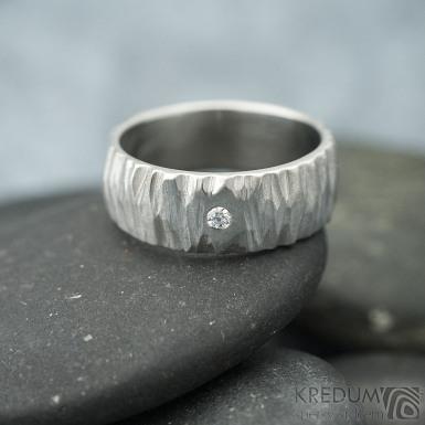 Klasik Bark a čirý diamant 1,7 mm - velikost 47, šířka 6 mm - nerezové snubní prsteny - k 1702