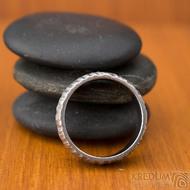 Klasik Bark světlý - Kovaný nerezový snubní prsten - SK1870 - velikost 53