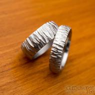 Klasik Bark světlý - Nerezové snubní prsteny - šířky 8 mm a 5,3