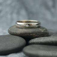 Klasik Gold W a čirý diamant 1,7 mm - velikost 55, šířka 3,5 mm, tloušťka 1,3 mm, lesk, profil B - Zlaté snubní prsteny - k 1737 (15)