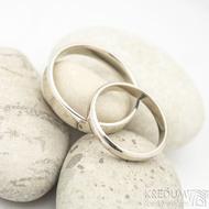 Klasik gold white lesklý - dámský 52, šířka 3 mm, profil A; pánský 62,5; šířka 4 mm - Zlaté snubní prsteny - k 1517 (5)