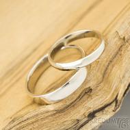 Klasik gold white lesklý - dámský 52, šířka 3 mm, profil A; pánský 62,5; šířka 4 mm - Zlaté snubní prsteny - k 1517 (2)