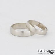 Klasik gold white - velikost 53; šířka 4 mm a velikost 59,5; šířka 5 mm, profil B, povrch matný - Zlaté snubní prsteny - k 0953