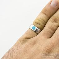 Klasik lesk a přírodní tyrkys - velikost 57, šířka 6,6mm, tloušťka 1,9mm, průměr kamene 5mm  - Nerezové snubní prsteny - sk1865 (5)