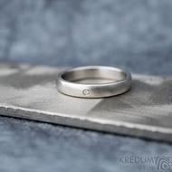 Klasik matný a čirý diamant 1,5 mm - Kovaný nerezový prsten - 55, šířka 3,5 mm, tloušťka 1,5 mm, matný, profil B - S1434 (4)