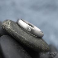 Klasik matný a čirý diamant 1,5 mm - Kovaný nerezový prsten - 55, šířka 3,5 mm, tloušťka 1,5 mm, matný, profil B - S1434 (2)