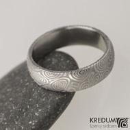 Snubní prsten damasteel Prima - kolečka, lept 75% světlý