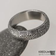 Snubní prsten damasteel Prima - kolečka, lept 100%