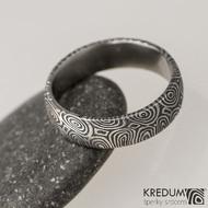 Snubní prsten damasteel Prima - kolečka, lept extra