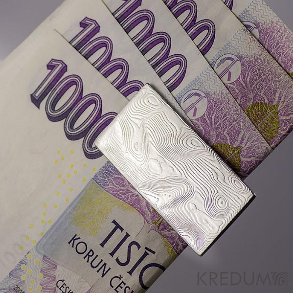 Spona na bankovky - Kovaná nerezová ocel damasteel