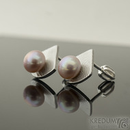 Kované damasteel naušnice a rose perly - Raníčky - dřevo, k 2187 (3)
