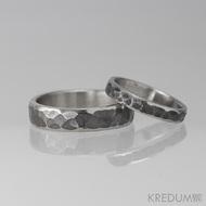 Kovaný nerezový snubní prsten Draill tmavý