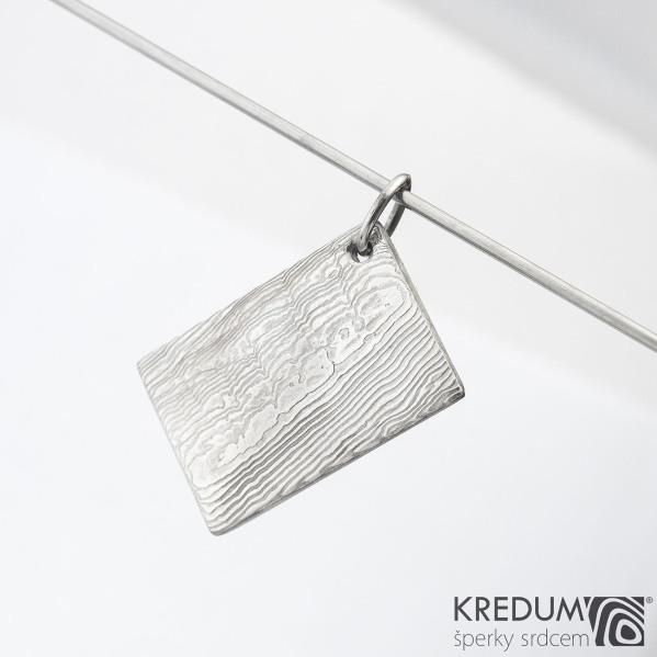 Kovové dřevo - přívěsek z oceli damasteel, SK1476