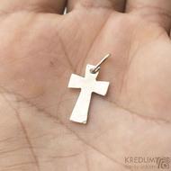 Tepaný křížek - bílé zlato