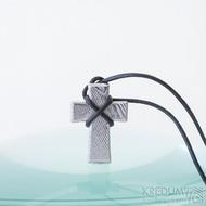 Křížek, dřevo - Přívěsek damasteel, produkt SK2419 - bez očka