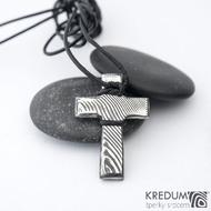 Křížek nerezová ocel damasteel - dřevo - bez očka