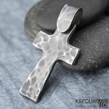 Křížek kovaný tmavý - nerezová ocel,  fl 3455946 (2)