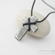 Křížek nerezová ocel damasteel - voda - bez očka - k 2383