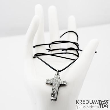 Křížek s očkem, dřevo - Kovaný přívěsek damasteel