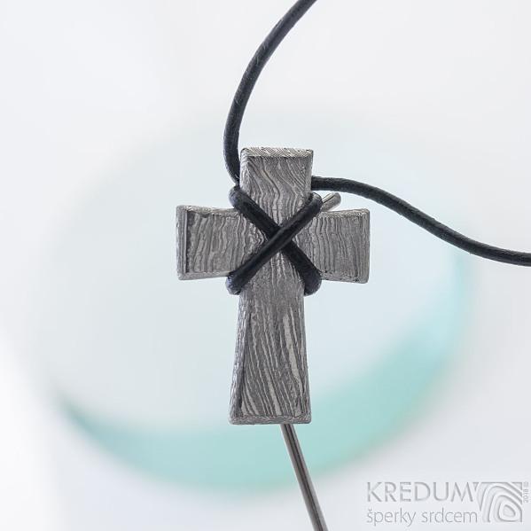 Křížek, voda - Přívěsek damasteel, SK2416 (2)