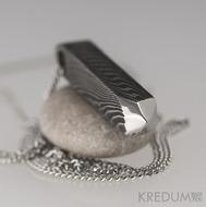 Krystal - Kovaný damasteel přívěsek