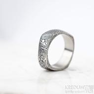 Kumali - velikost 68, šířka 8,2 mm, kolečka 75TM - Damasteel snubní prsten - sk1623 (2)