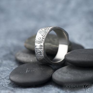 Kumali - velikost 68, šířka 8,2 mm, kolečka 75TM - Damasteel snubní prsten - sk1623 (3)