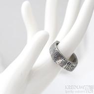 Kumali - velikost 68, šířka 8,2 mm, kolečka 75TM - Damasteel snubní prsten - sk1623 (5)