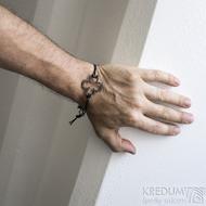 Layout 4leaf black - Kožený náramek s kovanou ozdobou (4)