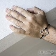 Layout 4leaf white - Kožený náramek s kovanou ozdobou (5)