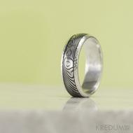 Luna s tepanými okraji - dřevo - Stříbrné snubní prsteny a damasteel, S1354