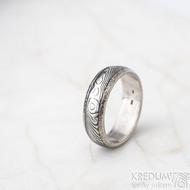Luna s tepanými okraji - dřevo - Stříbrné snubní prsteny a damasteel - 53, šířka 5,8 mm, tloušťka 1,5 mm, 100% TM, B - S1354 (3)