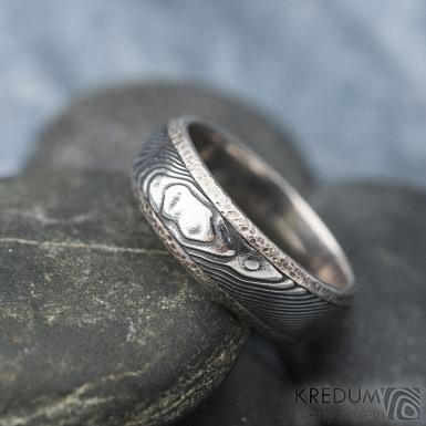 Luna s tepanými okraji - dřevo - Stříbrné snubní prsteny a damasteel - 53, šířka 5,8 mm, tloušťka 1,5 mm, 100% TM, B - S1354 (4)