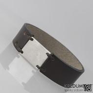Kožený náramek - Manus 20 Damast XL hnědý - struktura dřevo