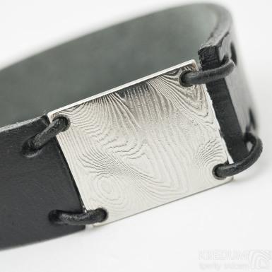 Manus 20 Damast dřevo - XL černý - Kožený náramek, SK3257