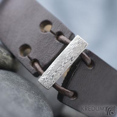 Manus 20 Damast S hnědý - struktura voda - Kožený náramek, produkt SK1782