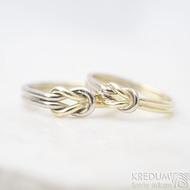Marge duo - snubní prsteny žluté a bílé zlato -  velikost 58 síla drátku 1,5 mm a velikost 52,5, síla drátu 1,2 mm - K 1388 (5)