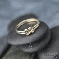 Marge duo - snubní prsteny žluté a bílé zlato -  velikost 58 síla drátku 1,5 mm - K 1388 (2)