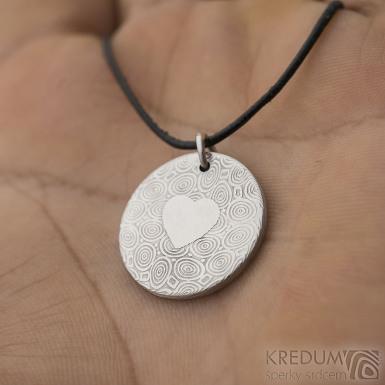 Mikilion a srdce - Přívěsek damasteel, SK2730