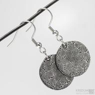 Kované damasteel náušnice - Mikilion - struktura kolečka, zatmavené