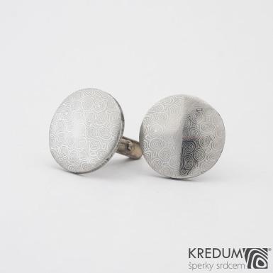 Mipapi  se stříbrným zapínáním - struktura kolečka - Kované manžetové knoflíčky damasteel, SK1140